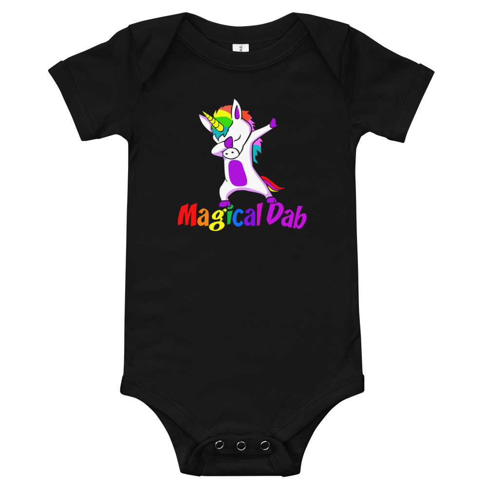Magical Dab, Unicorn, Baby Suit Black