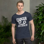 Cancer Zodiac Sign. Men's Raw Neck Tee.