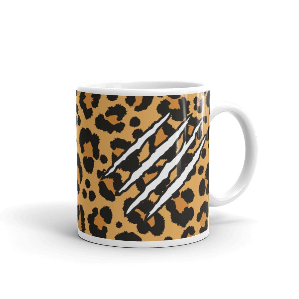 Leopard print and scratch mug.