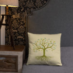 Tree of Life, Green Tree, Butterfly's Pillow Case w/ stuffing