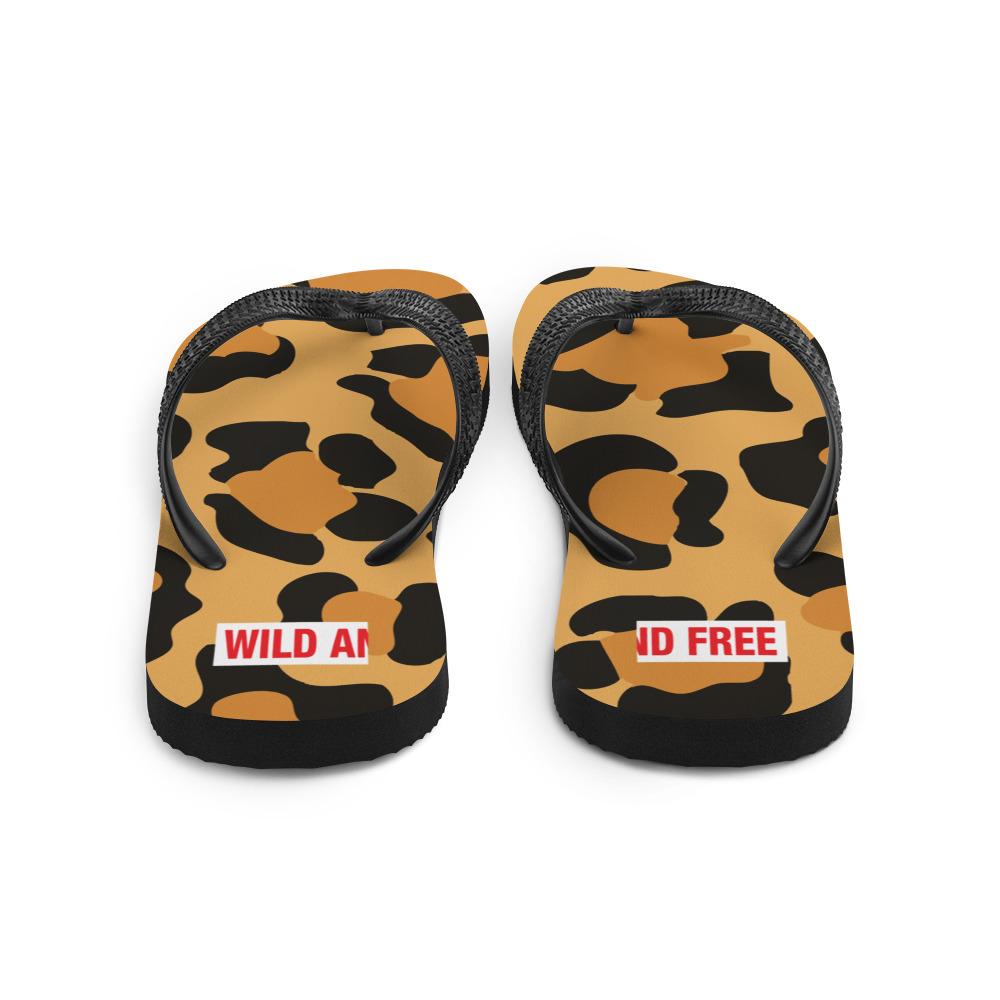 Leopard print flip flops, wild and free.
