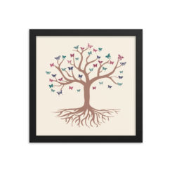 Tree Of Life and Butterflies Framed poster