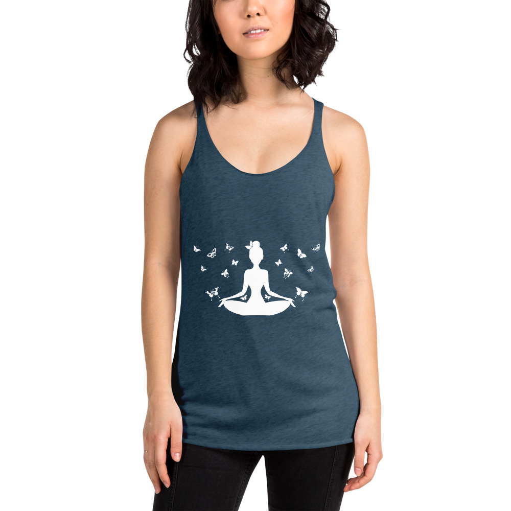 Yoga pose and butterflies t-shirt.