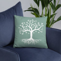 Tree of life, Butterfly's Green Pillow Case w/ stuffing
