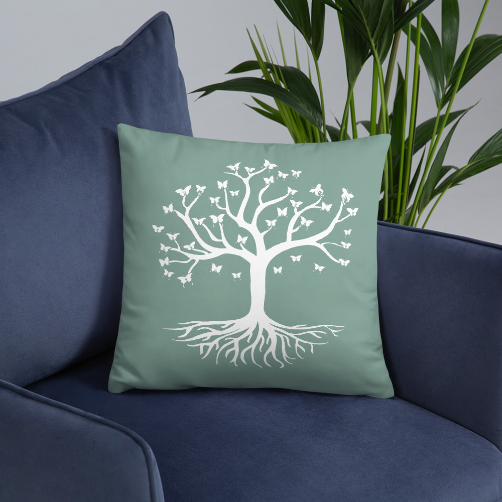 Tree of life and butterflies, green pillow.