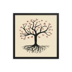 Tree Of Life And Butterflies. Framed poster
