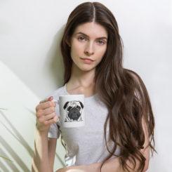 Pug Style, Its Coffee Time Mug. Handle right.