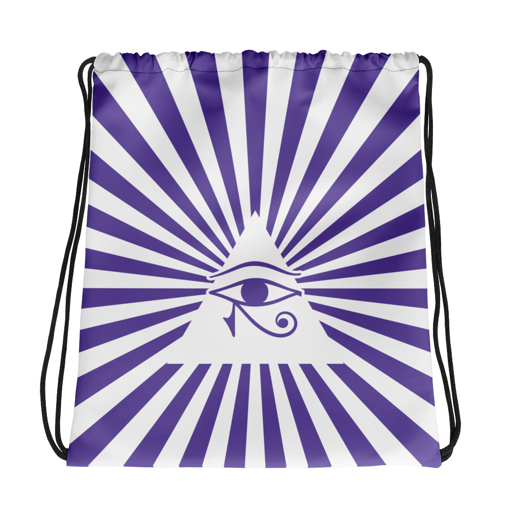 Drawstring bag eye of Horus purple