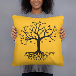 Tree of Life, Black Tree, Butterfly's Yellow Pillow Case w/ stuffing